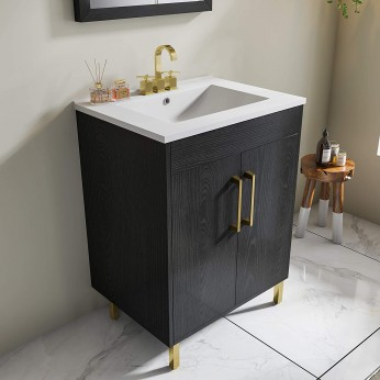 Modern 24 inch Black Bathroom Vanity with Undermount Ceramics Sink Combo, 2 Doors Single Bathroom Storage Cabinet Set