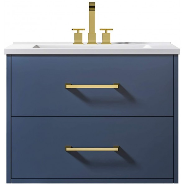 "24"" Wall Mounted Bathroom Vanity and Sink Combo, Blue Floating Bathroom Vanity with White Ceramic Sink"