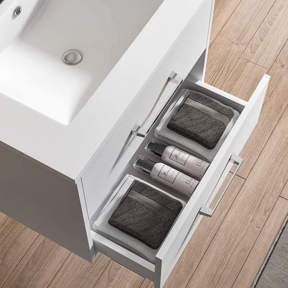 "24"" Wall Mounted Bathroom Vanity and Sink Combo,Grey Floating Bathroom Vanity with White Ceramic Sink"