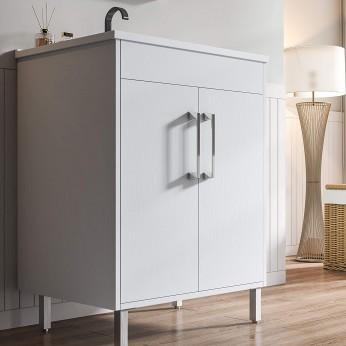 Modern Single Bathroom Vanity with Sink, 2 Doors White Bathroom Storage Cabinet with Single Hole Undermount Ceramic Sink Combo