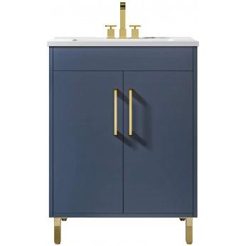 24 inch Blue Bathroom Vanity with undermount Ceramics Sink Combo, 2 Doors Single Bathroom Storage Cabinet Set