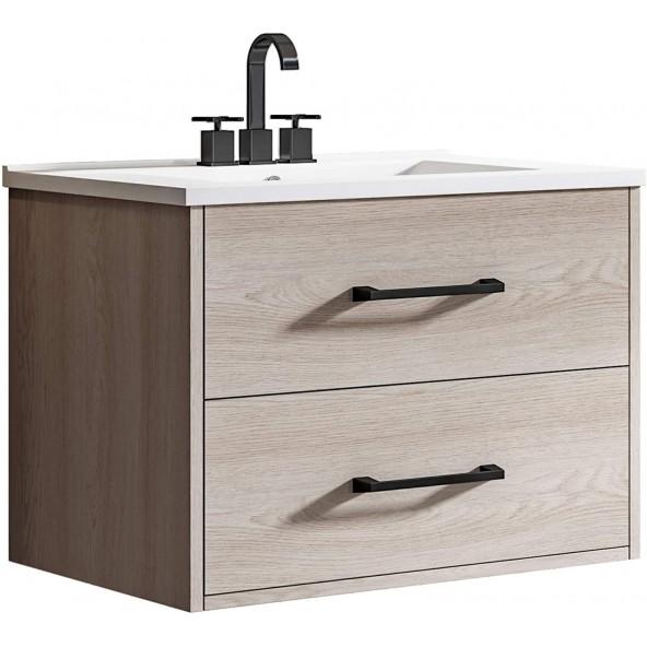 "24"" Wall Mounted Bathroom Vanity and Sink Combo, Wood Floating Bathroom Vanity with White Ceramic Sink"