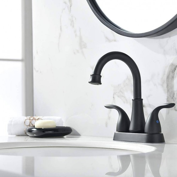 2 Handle 4 Inch Matte Black Bathroom Faucet by Phiestina Faucet, Bathroom Sink Faucet with with Stainless Steel Metal Pop Up Drain
