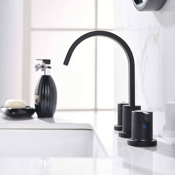 Matte Black Waterfall Widespread 8 Inch 3 Holes 2 Handles Bathroom Faucet With Copper Drain And Valve