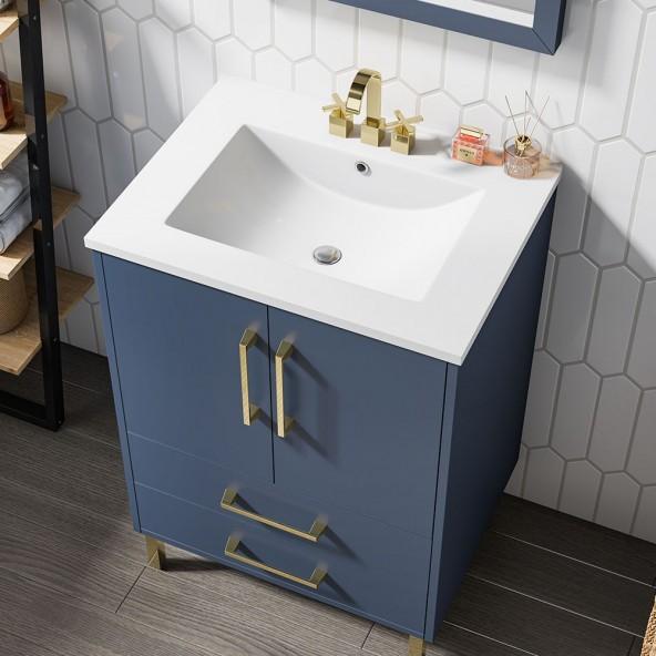 24 inch Single Blue Bathroom Vanity with Ceramic Sink Combo,2 Doors and 2 Drawers Bathroom Storage Cabinet Set