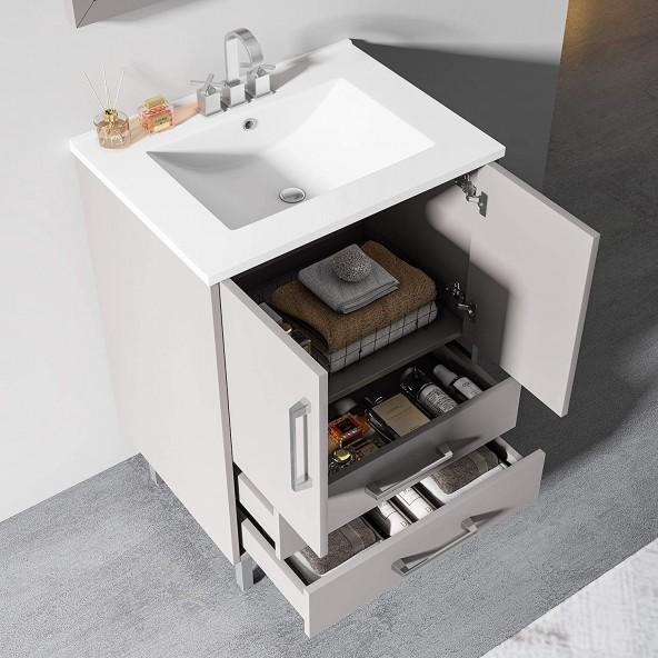 24 inch Single Grey Bathroom Vanity with Ceramic Sink Combo, 2 Doors and 2 Draw Bathroom Storage Cabinet Set