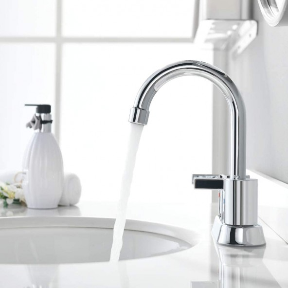 4 Inch 2 Handle Centerset Chrome Bathroom Faucet, with Copper Pop Up Drain and Water Supply Lines