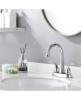 Modern Polished Chrome Bathroom Faucet 4 Inch Centerset Bathroom Faucet With Swing Spout and Hoses