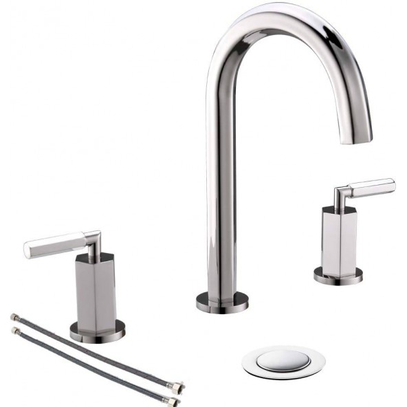 2 Handle 3 Hole High Arch Polished Chrome Widespread Bathroom Faucet, Bathroom Sink Faucets with Metal Pop Up Drain
