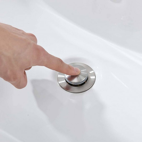 Brushed Nickel Pop Up Lavatory Bathroom Sink Drain Assembly With Basket,Pop Up Vessel Sink Drain Assembly With Overflow
