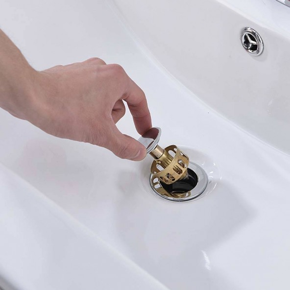 Chrome Pop Up Drain Assembly With Basket For Lavatory Bathroom Sink Vessel Sink