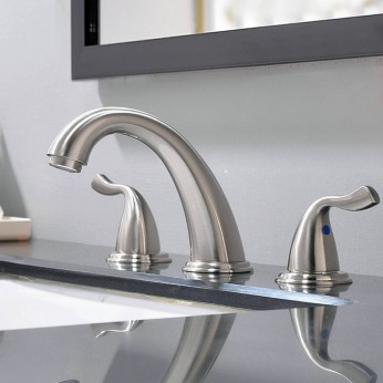 8 Inch 2 Handle 3 Hole Satin Widespread Bathroom Faucet Brushed Nickel Polished Bathroom Vessel Sink Faucet Without Drain