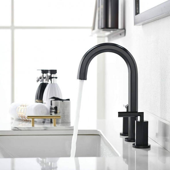 2 Handle 3 Hole Modern Matte Black Widespread Bathroom Faucet, Bathroom Sink Faucets With Stainless Steel Pop Up Drain