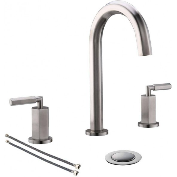 2 Handle 3 Hole Modern Deck Mount Widespread Bathroom Faucet Brushed Nickel, Bathroom Sink Faucets With Stainless Steel Pop Up Drain