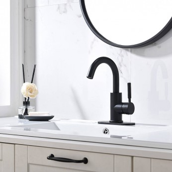 Single Handle Matte Black Bathroom Sink Faucet 4 Inch Centerset Bathroom Faucet With Deck Plate Drain And Water Supply Hoses