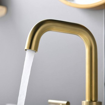 Lead-Free Brushed Gold 8 Inch 3 Pieces 2 Handles Widespread Bathroom Sink Faucet With Pop Up Drain And Valve