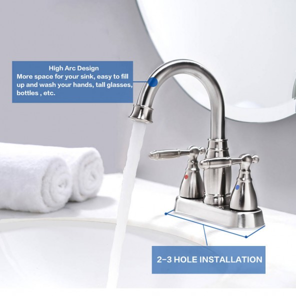 2 Handle Brushed Nickel Bathroom Faucet 4 Inch Centerset Bathroom Faucet With Pop Up Drain And Water Supply Lines