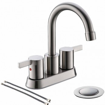 2 Handle Brushed Nickel Bathroom Faucet 4 Inch Centerset Bathrom Faucet With Pop Up Drain And Water Supply Lines