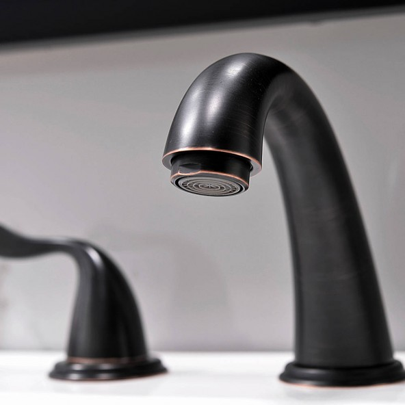 2 Handle 3 Hole 8 Inch Oil Rubbed Bronze Bathroom Faucet Oil RubbeBronze Bathroom Faucet Widespread With Pop Up Drain
