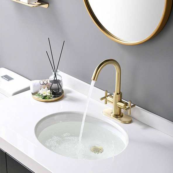 2-Handle 4 Inch Brushed Gold Centerset Bathroom Faucet With Drain,Deck Plate And Supply Hoses, Fit For Single Hole Or Three Hole
