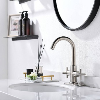 Brushed Nickel 2-Handle 4 Inch Centerset Bathroom Faucet With Drain,Deck Plate And Supply Hoses, Fit For Single Hole Or Three Hole