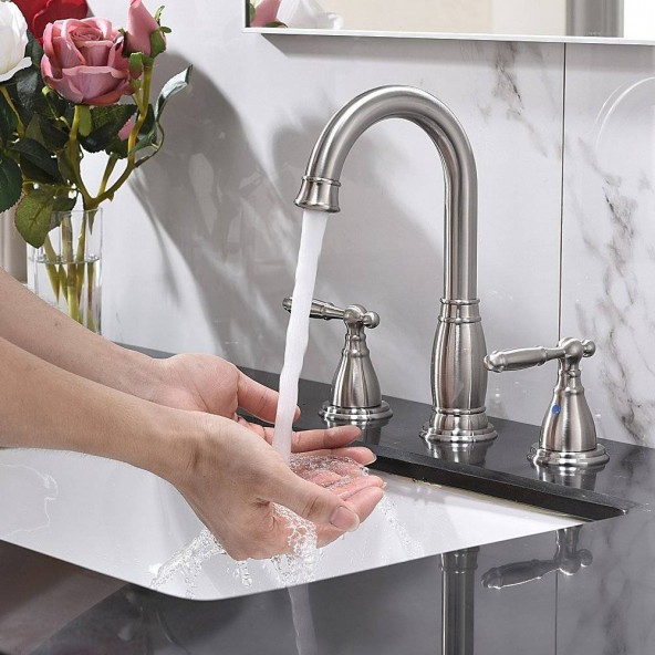 3 Hole 2 Handle 8 Inch Modern Brushed Nickel Widespread Bathroom Vessel Sink Faucet,Vanity Faucets With Valve And Pop-Up Drain