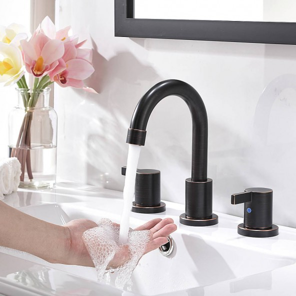 3 Hole 2 Handle 8 Inch Bathroom Faucet Oil Rubbed Bronze Widespread Bathroom Sink Faucet With Valves And Pop Up Drain