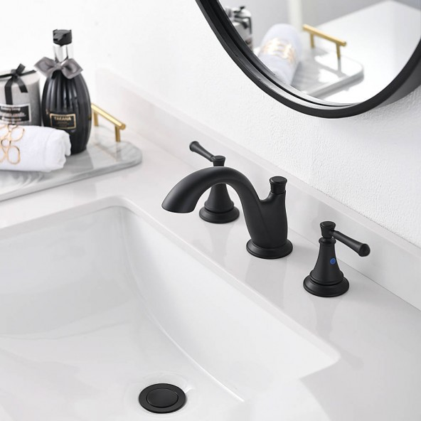8 Inch 3 Hole Matte Black Widespread Bathroom Vessel Sink Faucet,Bathroom Vanity Faucet With Pop Up Drain And Water Supply Lines