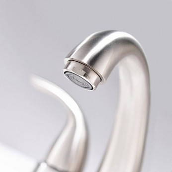 Modern Brushed Nickel Bathroom Faucet 4 Inch Centerset Bathroom Faucet With Pop Up Drain And Water Supply Lines