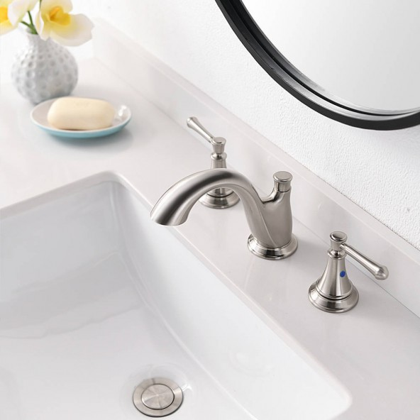 2 Handle 3 Hole 8 Inch Widespread Bathroom Vessel Sink Faucet Brushed Nickel Vanity Faucets With Drain And Water Supply Hoses