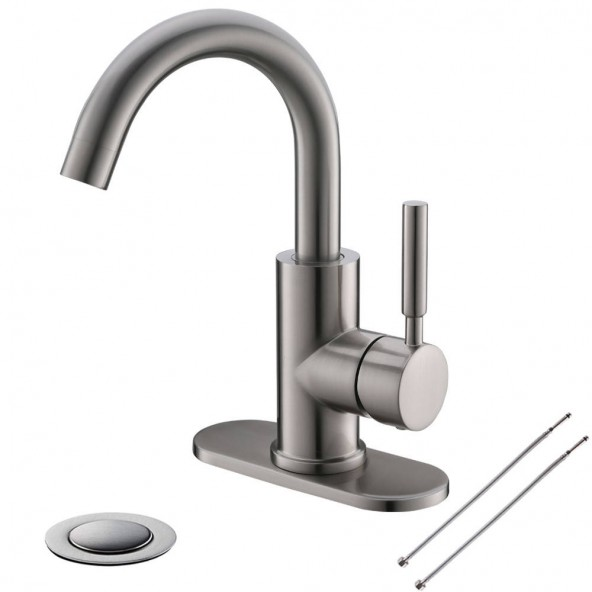 Single Handle Brushed Nickel Bathroom Sink Faucet,4 Inch Centerset Bathroom Faucet With Drain Deck Plate and 360° Rotation Spout