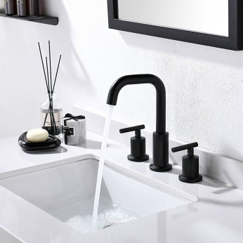 Matte Black Widespread 8 Inch 3 Holes 2 Handles Bathroom Sink Faucet With Full-Copper Pop Up Drain And Valve