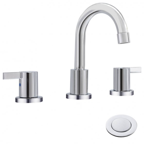 2 Handle 8 Inch 3 Hole Chrome Bathroom Faucet Widespread Bathroom Faucet With Pop Up Drain And Watter Supply Lines