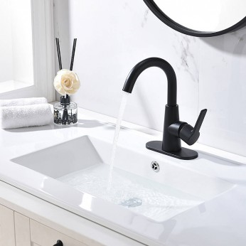 Matte Black Single Handle Bathroom Faucet With Water Supply Hoses,Single Hole Bathroom Faucet With 360° Rotation Spout
