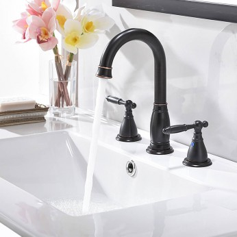 3 Hole 2 Handle 8 Inch Oil Rubbed Bronze Bathroom Faucet Widespread With Pop Up Drain And Supply Lines
