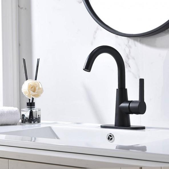 Matte Black Single Handle Bathroom Faucet With Water Supply Hoses,Single Hole Bathroom Faucet With 360° Rotation Spout