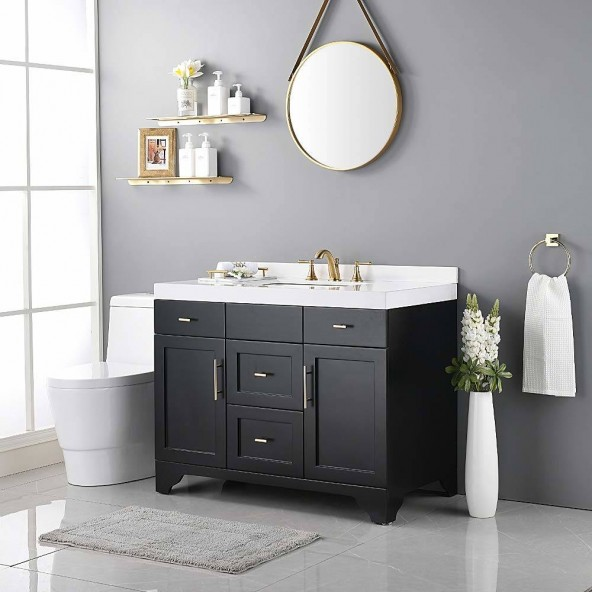 Brushed Gold Lead- Free 8 Inch 2 Handles 3 Hole Widespread Bathroom Sink Faucets, With Metal Drain And Water Supply Hoses