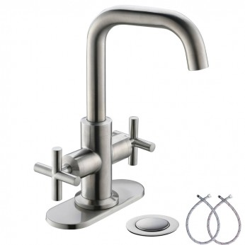 Brushed Nickel 2-Handle 4 Inch Centerset Bathroom Sink Faucet With Drain,Deck Plate And Supply Hoses