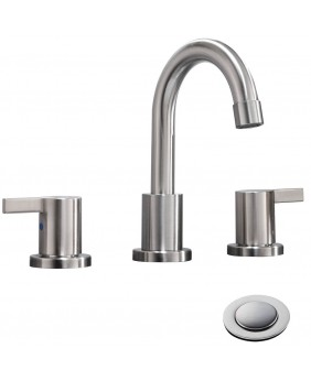 2 Handle 3 Hole 8 Inch Brushed Nickel Bathroom Faucet Widespread Bathroom Faucet Brushed Nickel  With Metal Pop Up Drain