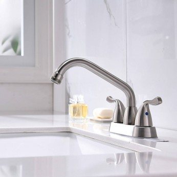 Modern Polished Nickel Bathroom Faucet 4 Inch Centerest Bathroom Faucet With Drain,Swing Spout and Suply Hoses