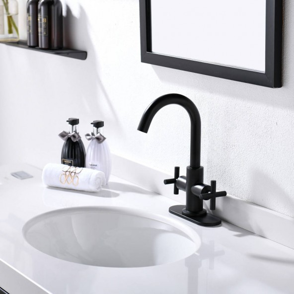 4 Inch 2 Cross Handle Centerset Matte Black Bathroom Faucet With Drain,Deck Plate And Supply Hoses