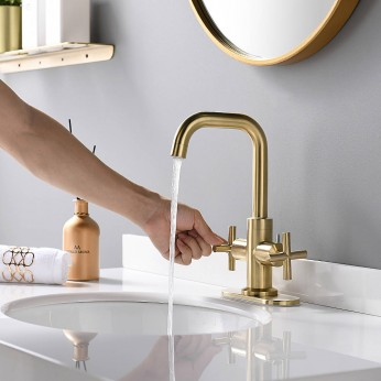 4 Inch 2-Handle Centerset Brushed Gold Bathroom Faucet With Drain,Deck Plate And Supply Hoses,Fit For Single Hole Or Three Hole