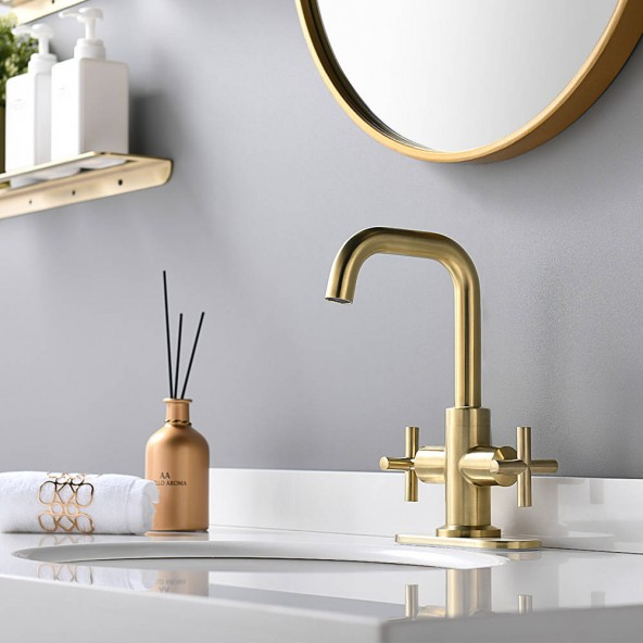 4 Inch 2-Handle Centerset Brushed Gold Bathroom Faucet With Drain,Deck Plate And Supply Hoses