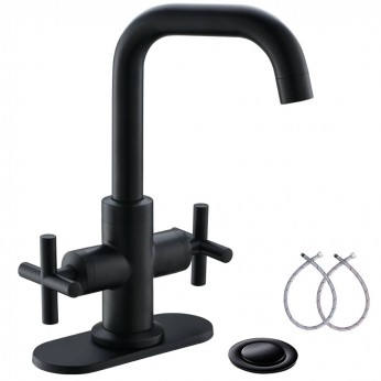 Matte Black 4 Inch 2-Handle Centerset Bathroom Faucet With Drain,Deck Plate And Supply Hoses By Phiestina, Fit For 1-3 Hole