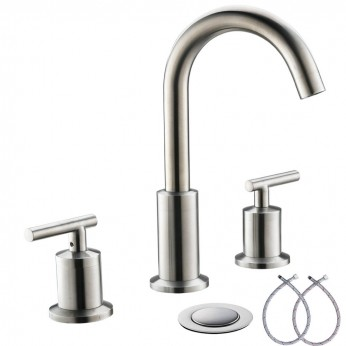 2 Handles 8 Inch Widespread BathroomFaucets, Brushed Nickel Bathroom Sink Faucet with Valve And Metal Pop-Up Drain