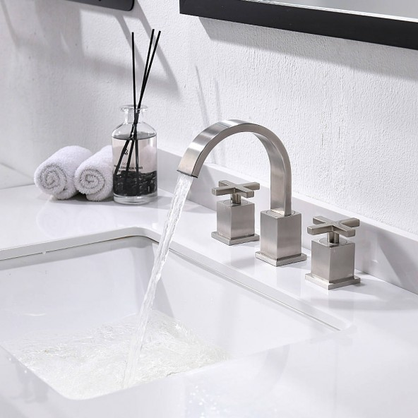 3 Hole 8 Inch Widespread Bathroom Faucet Brushed Nicekl Bathroom Sink Faucet With Pop Up Drain And Water Supply Lines