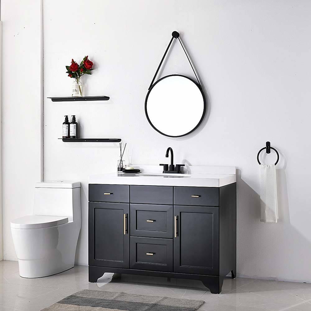 4 Inch 2 Handle Centerset Matte Black Lead Free Bathroom Faucet