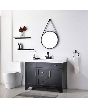 Modern Matte Black Bathroom Faucet 4 Inch Centerset Bathroom Faucets With Pop Up Drain Assembly and Water Supply Lines