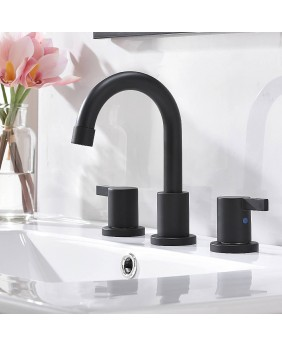 3 Hole 2 Handle Modern Matte Black Bathroom Faucet Widespread Bathroom Vanity Faucets With Valve And Pop-Up Drain
