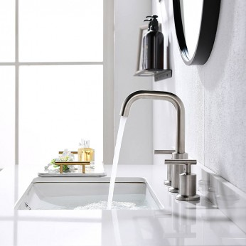 Lead-Free 8 Inch 3 Pieces 2 Handles Widespread Bathroom Sink Faucet With Nickel Pop Up Drain And Valve